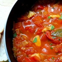 chicken with red pepper stew